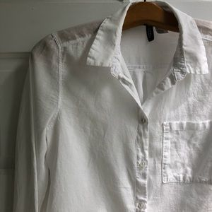 Divided Lightweight White Cotton Button-Up